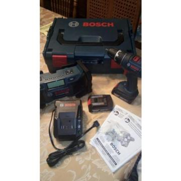 Bosch 18v Li-Ion Combo Drill/Driver Kit w / Bonus AM-FM Radio