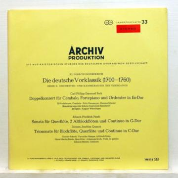 ARCHIV SAPM red stereo KOCH LINDE MULLER - CPE BACH double concerto LP EX++